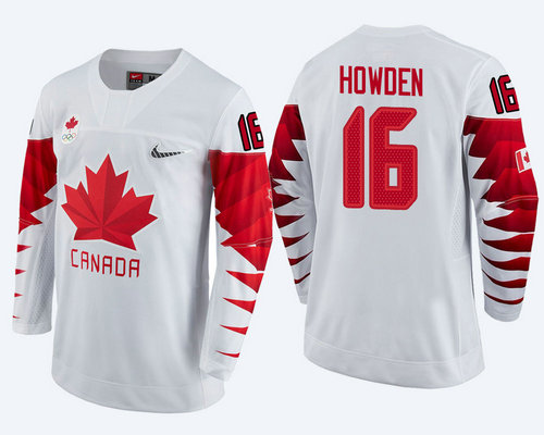 Men's Canada Team #16 Quinton Howden White 2018 Winter Olympics Jersey