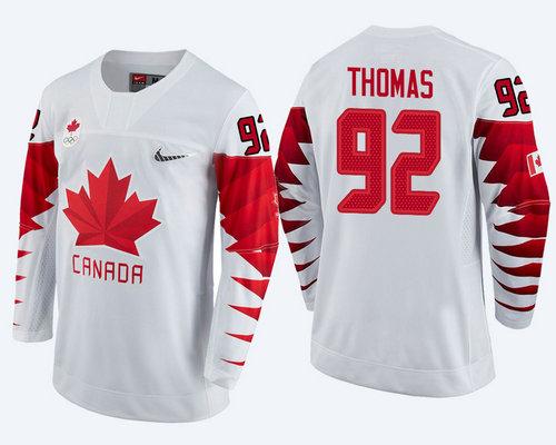 Men's Canada Team #92 Christian Thomas White 2018 Winter Olympics Jersey