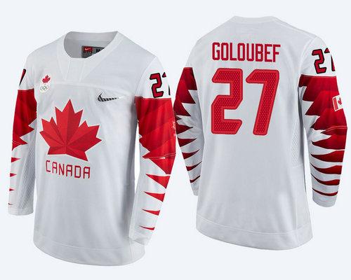 Men's Canada Team #27 Cody Goloubef White 2018 Winter Olympics Jersey