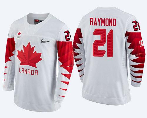 Men's Canada Team #21 Mason Raymond White  2018 Winter Olympics Jersey