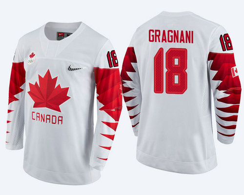 Men's Canada Team #18 Marc-Andre Gragnani White 2018 Winter Olympics Jersey
