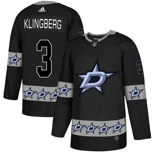 Men's Dallas Stars #3 John Klingberg Black Team Logos Fashion Adidas Jersey