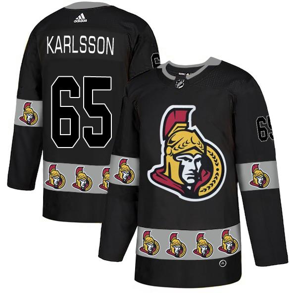 Men's Ottawa Senators #65 Erik Karlsson Black Team Logos Fashion Adidas Jersey