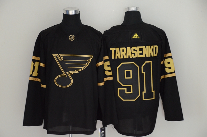 Men's St. Louis Blues 91 Vladimir Tarasenko Black Gold Adidas Jersey