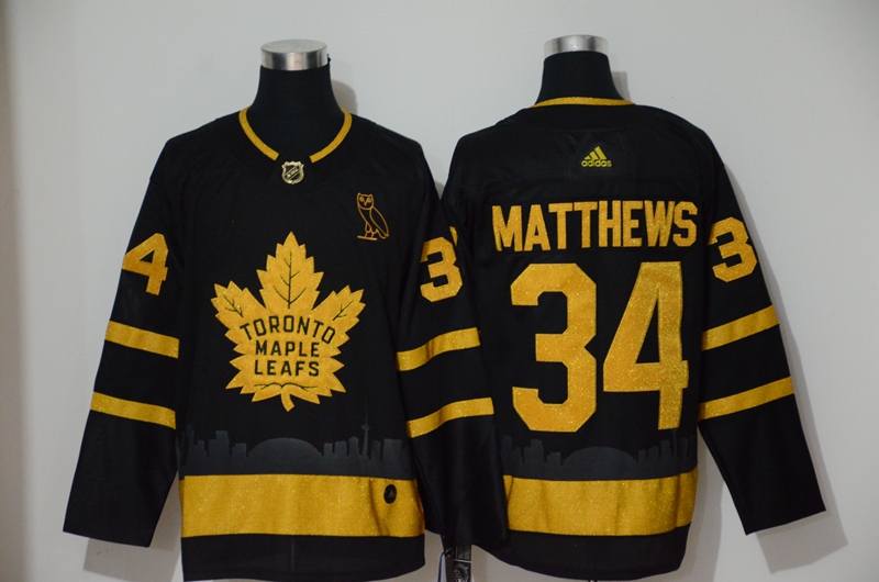Men's Toronto Maple Leafs 34 Auston Matthews Black Gold Adidas Jersey