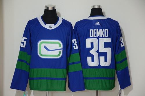 Men's Vancouver Canucks #35 Thatcher Demko Blue Alternate Authentic Stitched Hockey Jersey