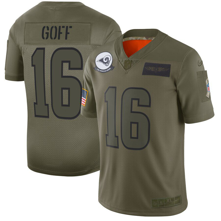 Men Los Angeles Rams 16 Goff Green Nike Olive Salute To Service Limited NFL Jerseys