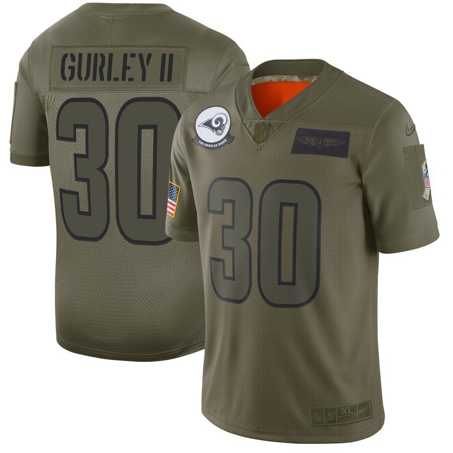 Men Los Angeles Rams 30 Gurley ii Green Nike Olive Salute To Service Limited NFL Jerseys