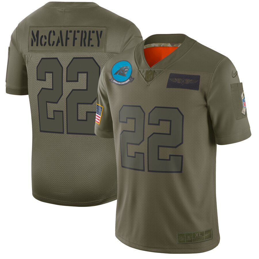 Men Carolina Panthers 22 Mccaffrey Green Nike Olive Salute To Service Limited NFL Jerseys