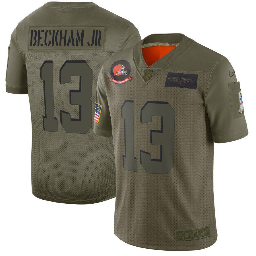 Men Cleveland Browns 13 Beckham jr Green Nike Olive Salute To Service Limited NFL Jerseys