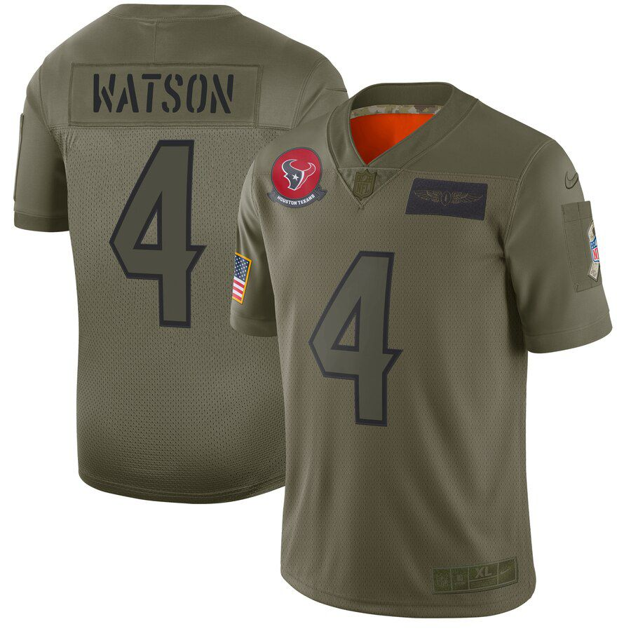 Men Houston Texans 4 Watson Green Nike Olive Salute To Service Limited NFL Jerseys