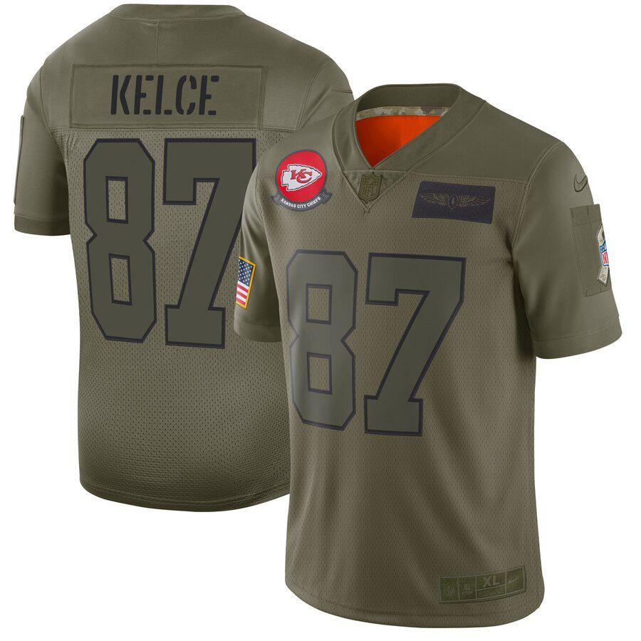 Men Kansas City Chiefs 87 Kelce Green Nike Olive Salute To Service Limited NFL Jerseys