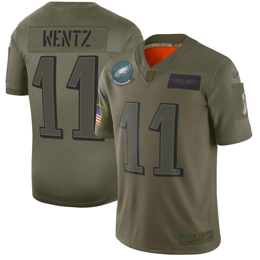 Men Philadelphia Eagles 11 Wentz Green Nike Olive Salute To Service Limited NFL Jerseys