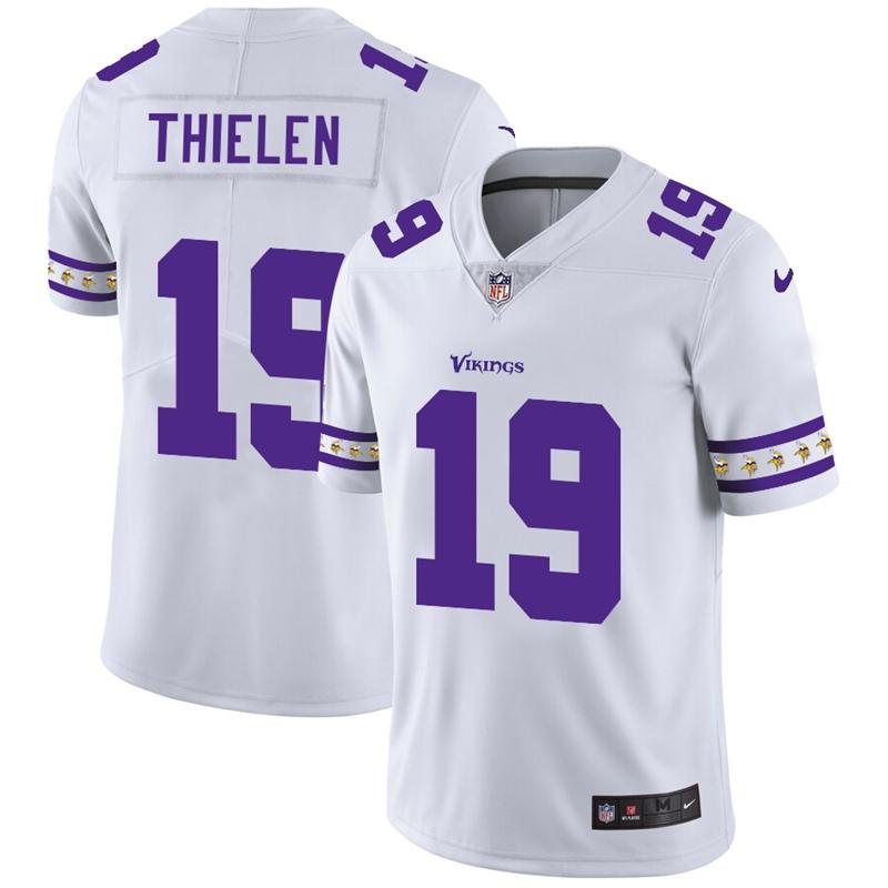 Minnesota Vikings #19 Adam Thielen Nike White Team Logo Vapor Limited NFL Jersey