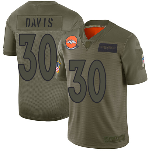Nike Broncos #30 Terrell Davis Camo Men's Stitched NFL Limited 2019 Salute To Service Jersey