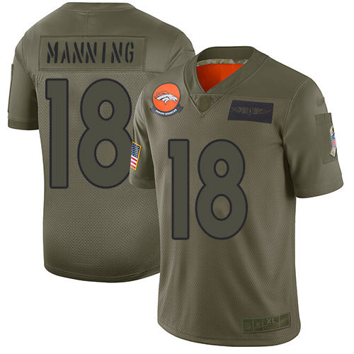 Nike Broncos #18 Peyton Manning Camo Men's Stitched NFL Limited 2019 Salute To Service Jersey