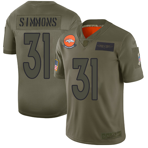 Nike Broncos #31 Justin Simmons Camo Men's Stitched NFL Limited 2019 Salute To Service Jersey