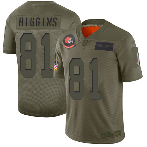 Nike Browns #81 Rashard Higgins Camo Men's Stitched NFL Limited 2019 Salute To Service Jersey