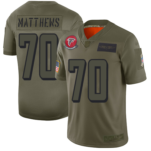 Nike Falcons #70 Jake Matthews Camo Men's Stitched NFL Limited 2019 Salute To Service Jersey