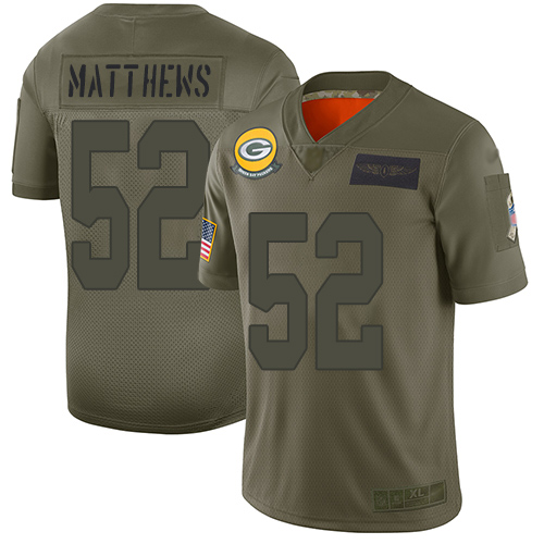 Nike Packers #52 Clay Matthews Camo Men's Stitched NFL Limited 2019 Salute To Service Jersey