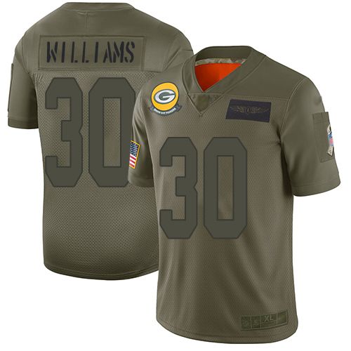Nike Packers #30 Jamaal Williams Camo Men's Stitched NFL Limited 2019 Salute To Service Jersey