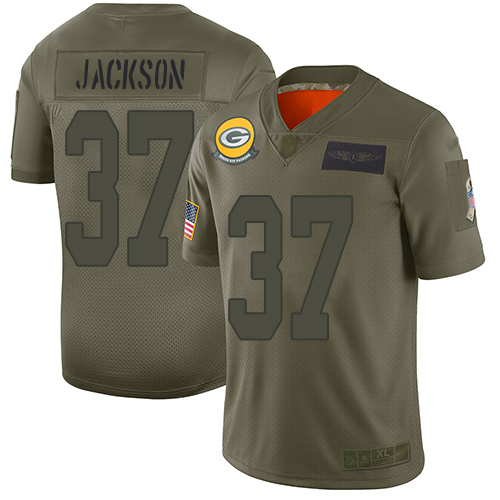 Nike Packers #37 Josh Jackson Camo Men's Stitched NFL Limited 2019 Salute To Service Jersey