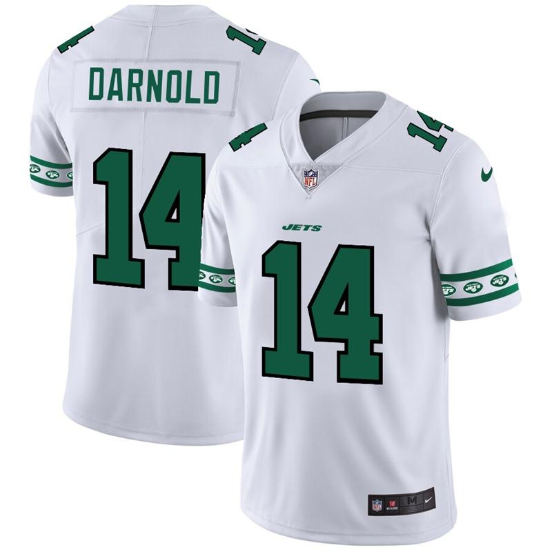 New York Jets #14 Sam Darnold Nike White Team Logo Vapor Limited NFL Jersey