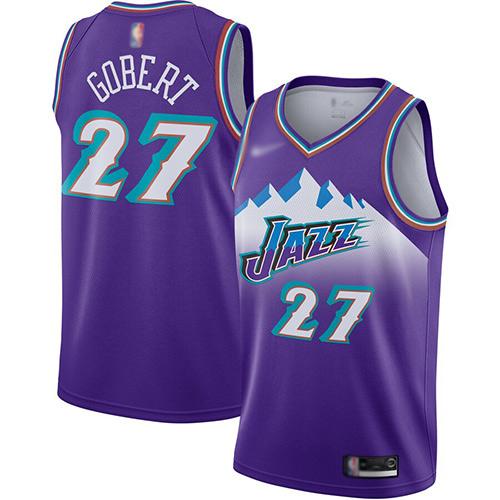 Jazz #27 Rudy Gobert Purple Basketball Swingman Hardwood Classics Jersey