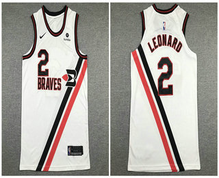 Men's Los Angeles Clippers #2 Kawhi Leonard NEW White Nike 2020 Authentic City Edition Jersey With The Sponsor Logo
