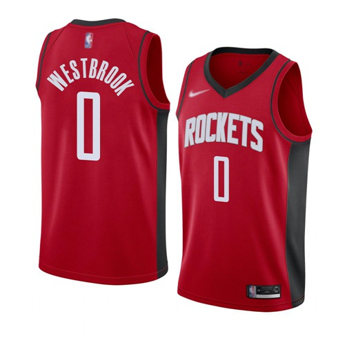 Rockets #0 Russell Westbrook Red Basketball Swingman Icon Edition 2019-2020 Jersey