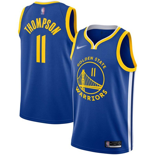 Warriors #11 Klay Thompson Blue Basketball Swingman Icon Edition 2019-2020 Jersey