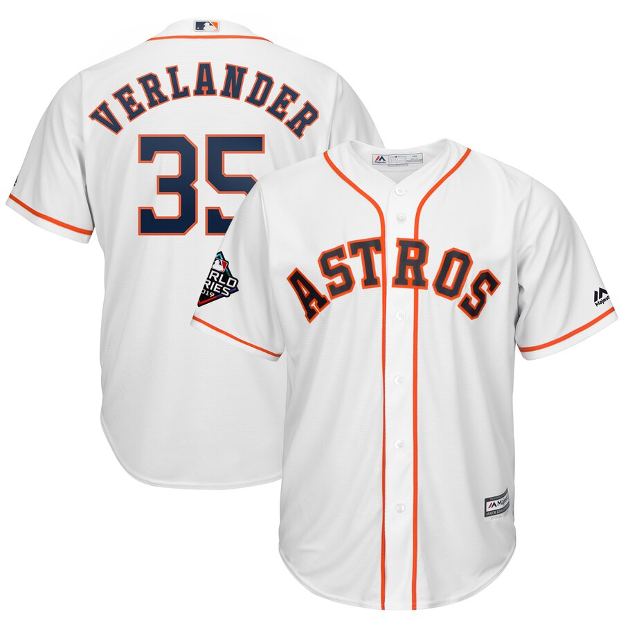 Astros #35 Justin Verlander White 2019 World Series Bound Cool Base Jersey