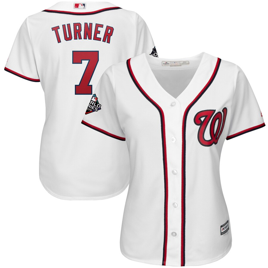 Nationals #7 Trea Turner White Women 2019 World Series Bound Cool Base Jersey
