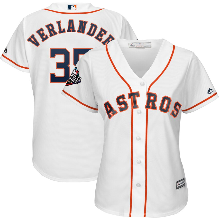Astros #35 Justin Verlander White Women 2019 World Series Bound Cool Base Jersey