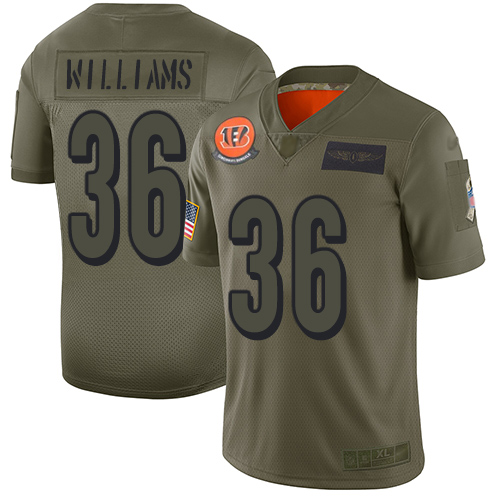 Nike Bengals #36 Shawn Williams Camo Men's Stitched NFL Limited 2019 Salute To Service Jersey