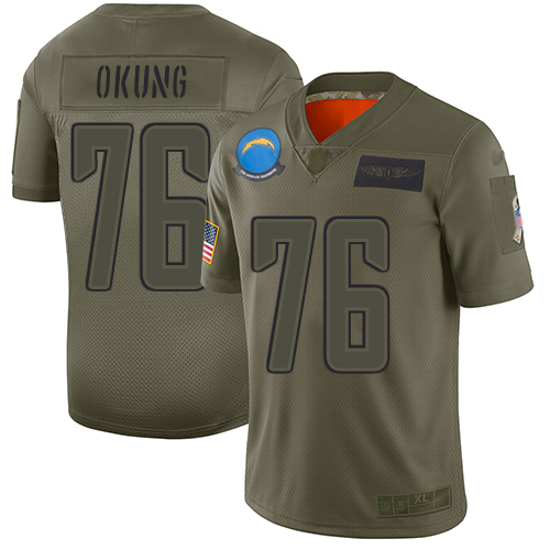 Nike Chargers #76 Russell Okung Camo Men's Stitched NFL Limited 2019 Salute To Service Jersey