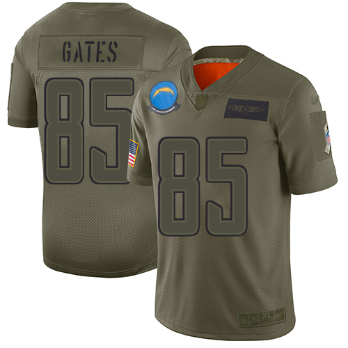 Nike Chargers #85 Antonio Gates Camo Men's Stitched NFL Limited 2019 Salute To Service Jersey