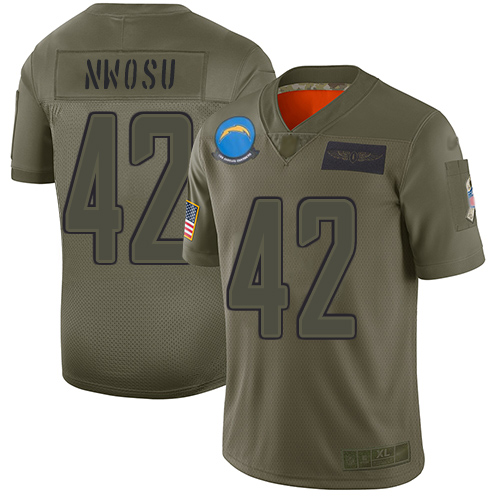 Nike Chargers #42 Uchenna Nwosu Camo Men's Stitched NFL Limited 2019 Salute To Service Jersey