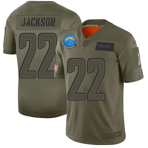 Nike Chargers #22 Justin Jackson Camo Men's Stitched NFL Limited 2019 Salute To Service Jersey