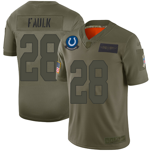 Nike Colts #28 Marshall Faulk Camo Men's Stitched NFL Limited 2019 Salute To Service Jersey
