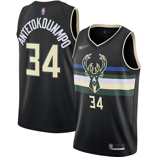 Bucks #34 Giannis Antetokounmpo Black Basketball Swingman Statement Edition 2019-2020 Jersey