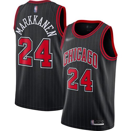 Bulls #24 Lauri Markkanen Black Basketball Swingman Statement Edition 2019-2020 Jersey