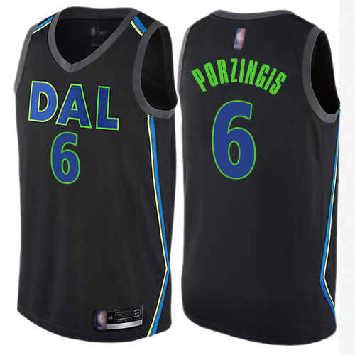 Mavericks #6 Kristaps Porzingis Black Basketball Swingman City Edition Jersey