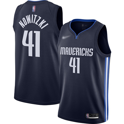 Mavericks #41 Dirk Nowitzki Navy Basketball Swingman Statement Edition 2019-2020 Jersey