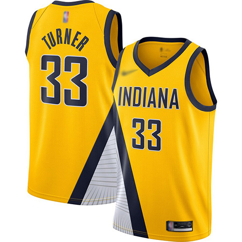 Pacers #33 Myles Turner Gold Basketball Swingman Statement Edition 2019-2020 Jersey
