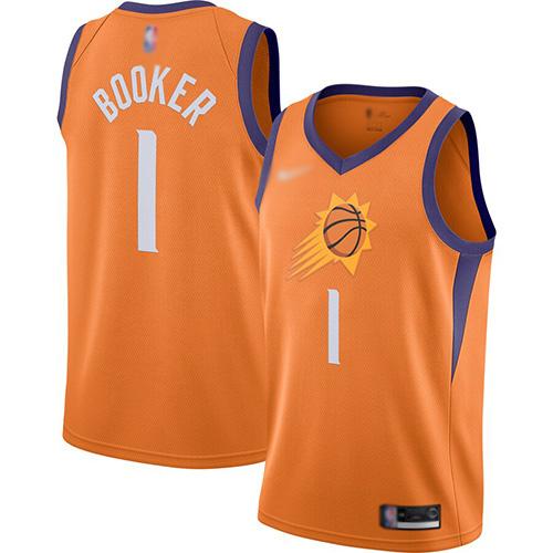 Suns #1 Devin Booker Orange Basketball Swingman Statement Edition 2019-2020 Jersey