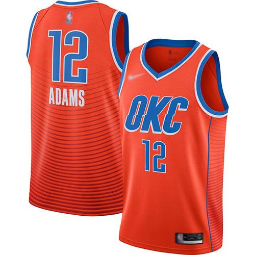 Thunder #12 Steven Adams Orange Basketball Swingman Statement Edition 2019-2020 Jersey