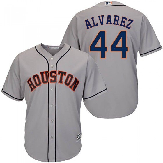 Men's Houston Astros #44 Yordan Alvarez Majestic Cool Base Road Gray Jersey