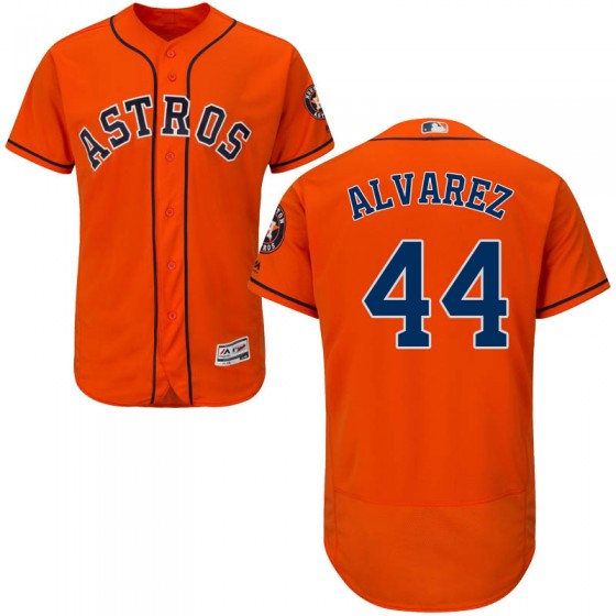 Men's Houston Astros #44 Yordan Alvarez Majestic Flex Base Alternate Collection Orange Jersey