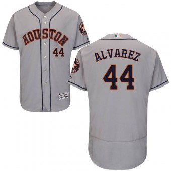 Men's Houston Astros #44 Yordan Alvarez Majestic Flex Base Road Collection Gray Jersey